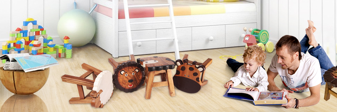 Raintree Wood Kids Stools