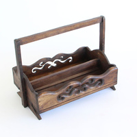 Rustic Style Hand Carving Teak Wood Vintage Sauce/Spice Holder W/ 2 Compartments