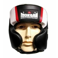 MORGAN V2 Mexican Leather Head Protector Guard Muay Thai Boxing MMA