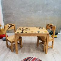 """Monkey Land"" Kids Wooden Table and Chairs Set"