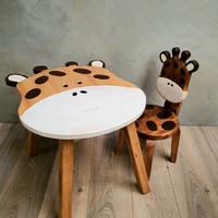 Kids Wooden Table Giraffe + Chairs Set