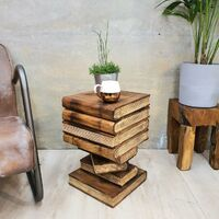 Side Table Book Stack Design w Storage Compartment Natural Burned