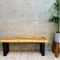 """Bungalow' Live Edge Raintree Wood Bench 120cm in Length"