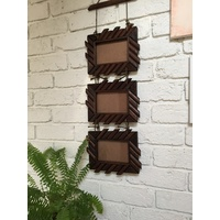 Set of 3x Designer Teak Wood Wall Art Hanging Photo Picture Frames SPF101