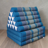 Jumbo Thai Triangle Pillow THREE FOLDS BLUE