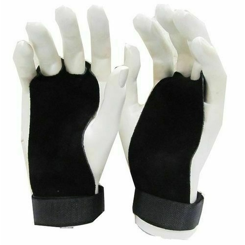MORGAN Strength exercises Training Lether Palm Grips (Pair)[Black Large]