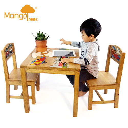 Kids Wooden Airplane Table&Chairs Set