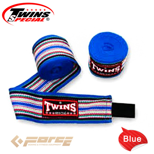 5m TWINS Boxing Cotton Handwraps Rainbow BLUE